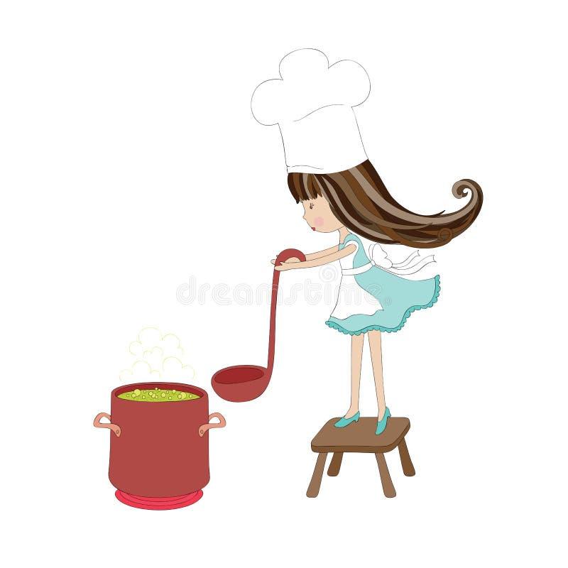 Little girl cooks vector illustration