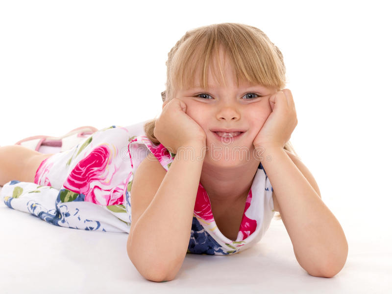 Download Little Girl Covers Her Head. Stock Image - Image: 43266339