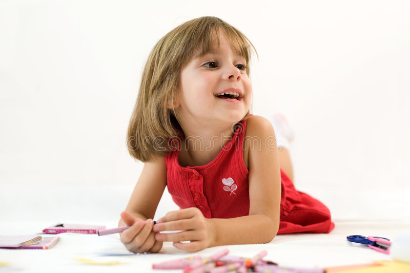 Download Little girl with a crayon stock image. Image of child - 6747559