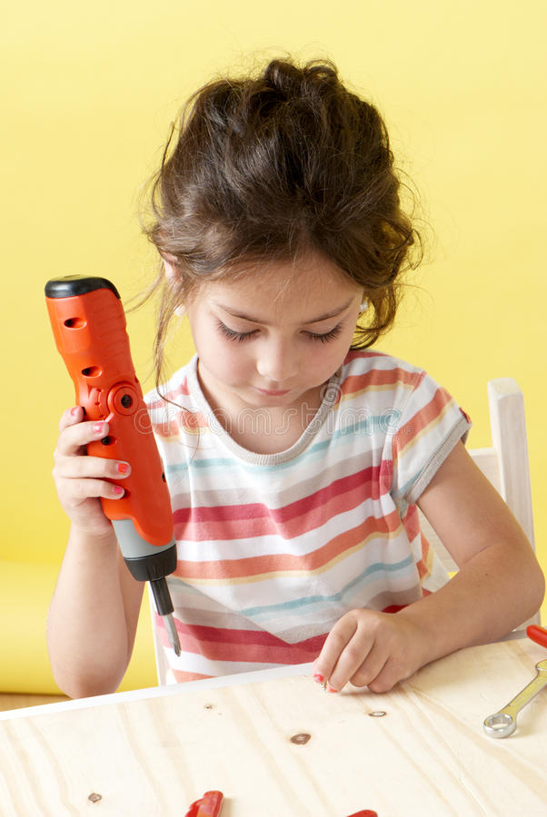 Little Girl On Creative Lesson Stock Images
