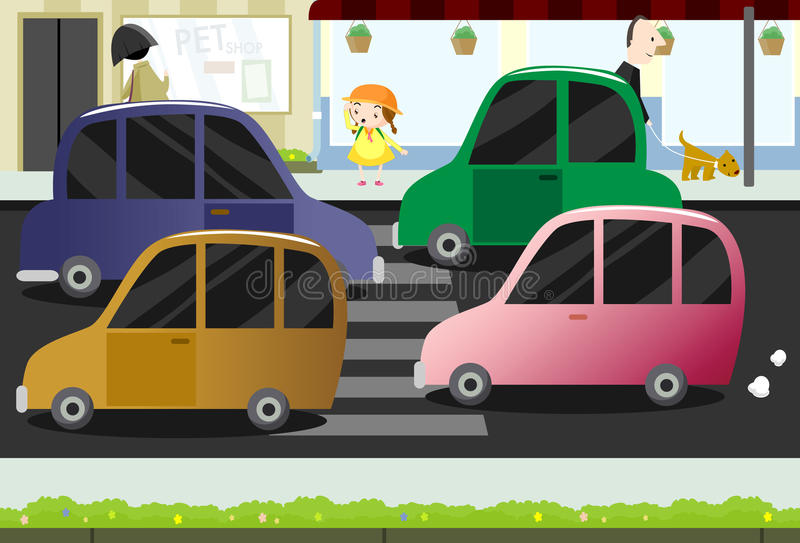 Download Little Girl Crossing The Busy Street Royalty Free Stock Photo - Image: 12856405