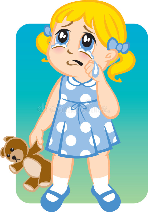 Download Little Girl Crying stock illustration. Image of anxiety - 3450602