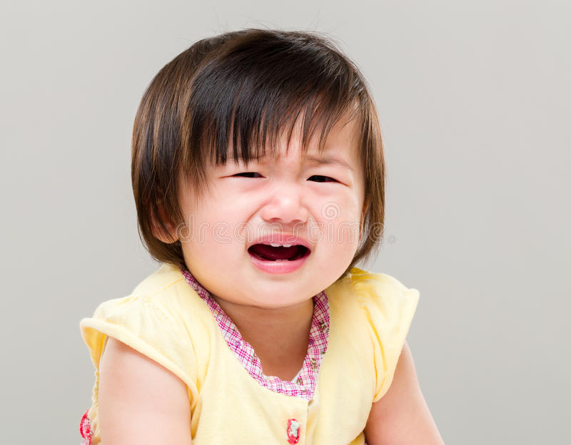 Little girl crying stock image