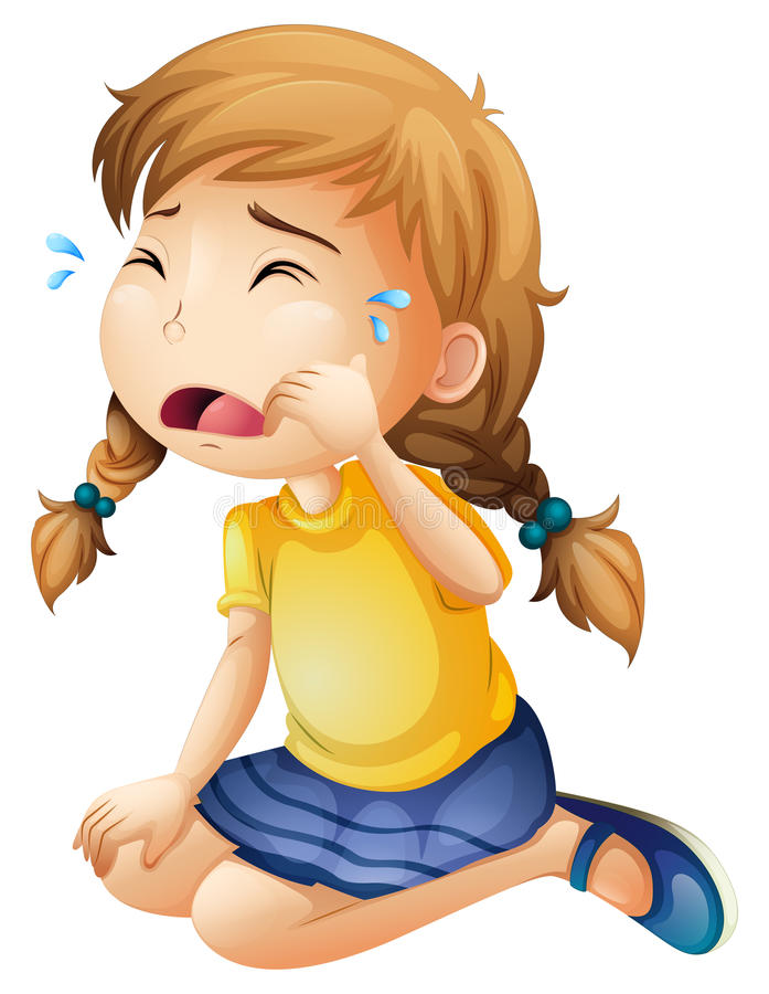 A little girl crying royalty free illustration