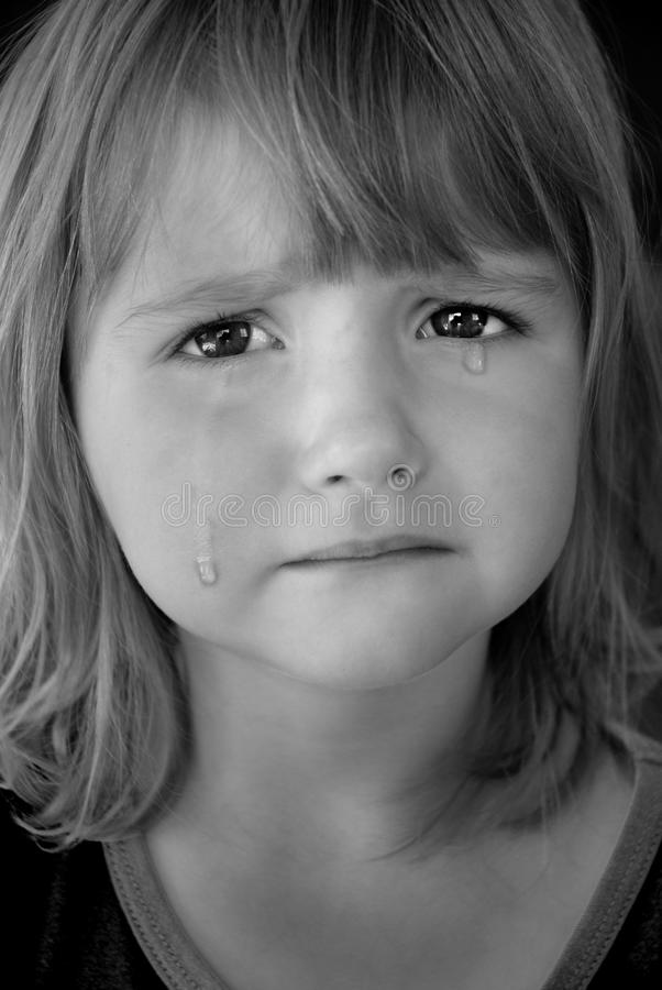 Little Girl Crying with Tears stock photography