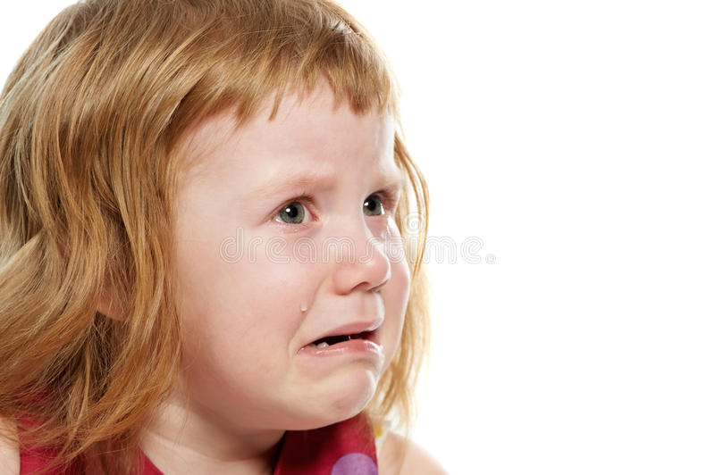 Little Girl Crying With Tears Stock Photo