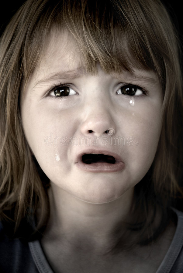Little Girl Crying with Tears royalty free stock photos