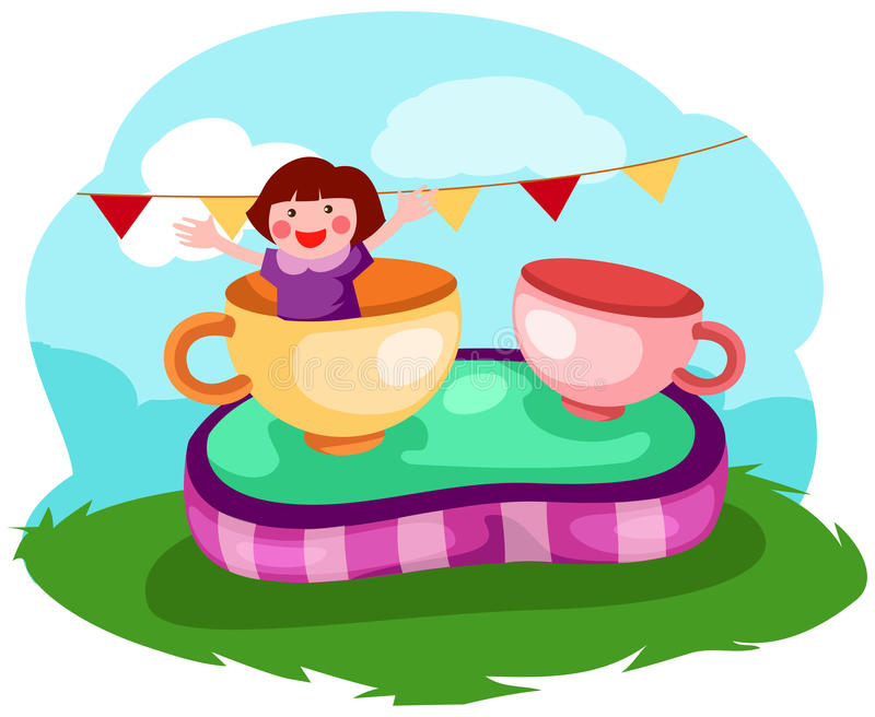 Little girl in a cup vector illustration