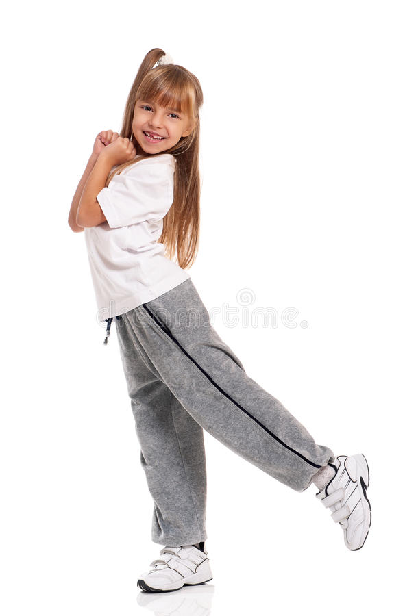 Download Little girl dancing stock photo. Image of fitness, background - 28215644