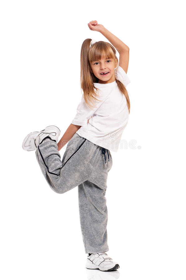Download Little girl dancing stock image. Image of arms, hip, background - 28930763