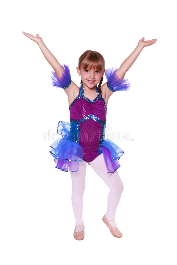 Little girl with dancing costume on stock photos