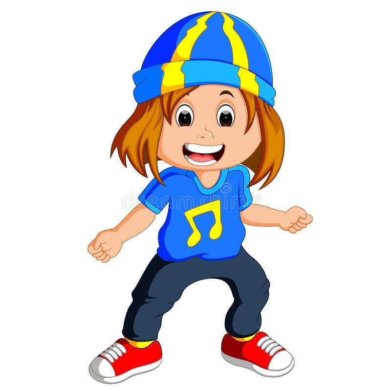 Little girl dancing vector illustration