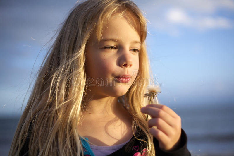 Download Little Girl With Dandelion Flower Stock Photo - Image: 17274150
