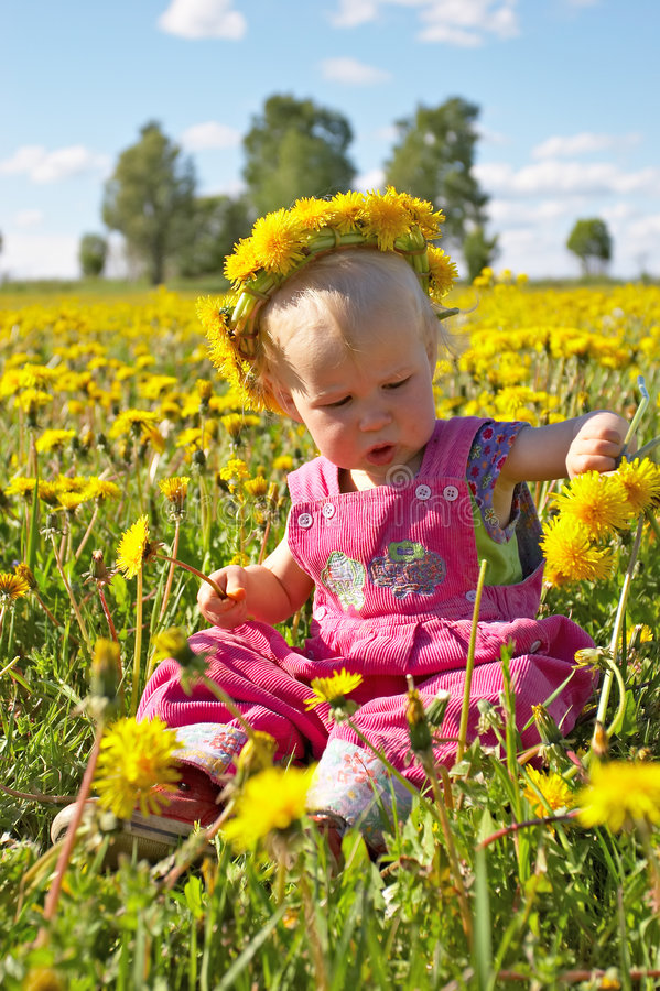 Download Little Girl On Dandelion Meadow Stock Image - Image of countryside, infant: 844167