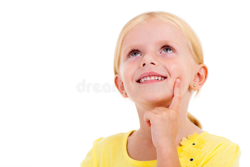 Little girl daydreaming stock photos