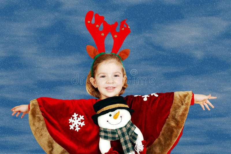 Little Girl With Deer Rudolf Horn Royalty Free Stock Photo