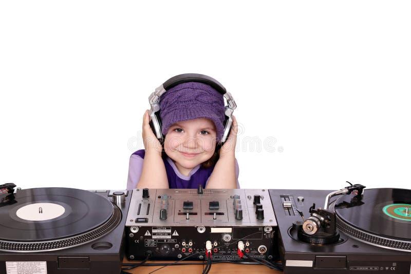 Little girl dj stock photos