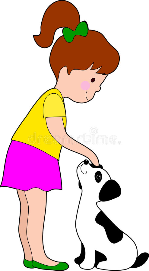 Little Girl and Dog. A little girl patting a young dalmation pup stock illustration
