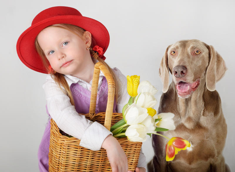 Little girl and dog. Girl in Little Red Riding Hood with spring flowers and dog
