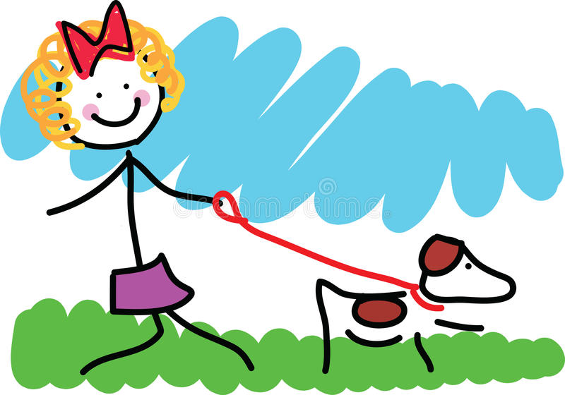 Download Little Girl And Dog Drawing Royalty Free Stock Image - Image: 29111186