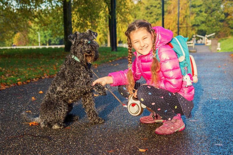 Little girl and dog shake hands. Handshake dog and kid. Friendship with animals, animal care concept. The child takes care of the dog. The child is happy to royalty free stock photos