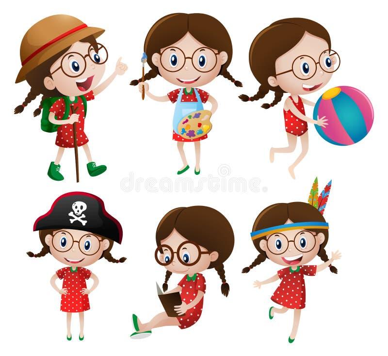 Little girl doing different activities stock illustration