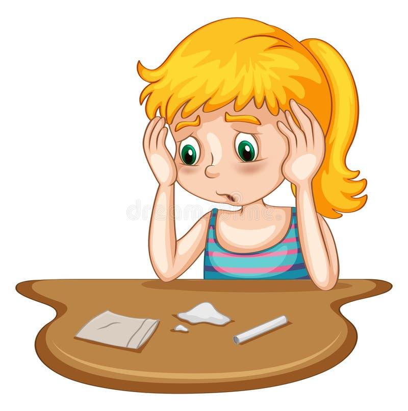Little girl doing drug royalty free illustration