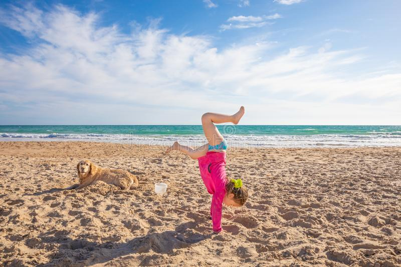 Little girl doing handstand on sand beach next to a dog royalty free stock images
