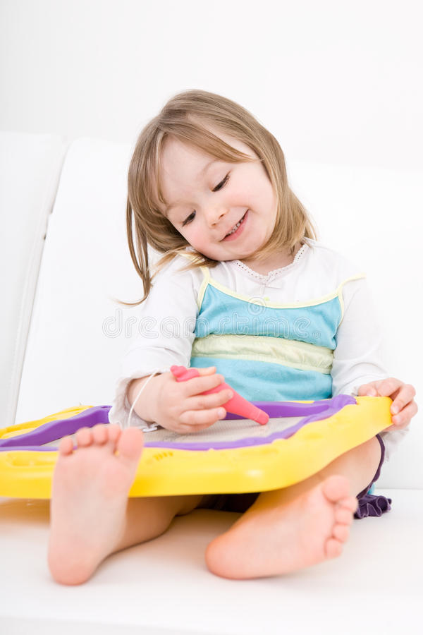 Download Little Girl Drawing Stock Image - Image: 14054111