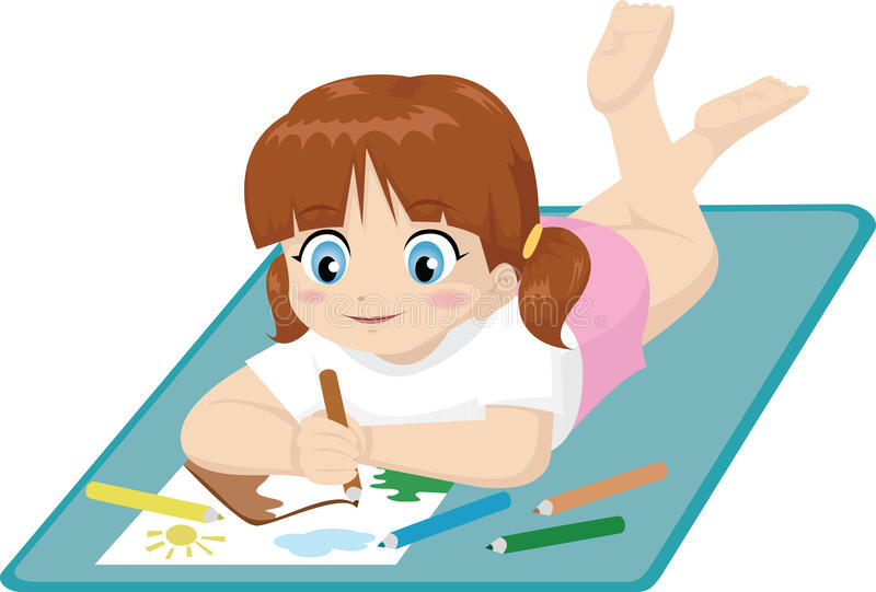 Little girl drawing vector illustration