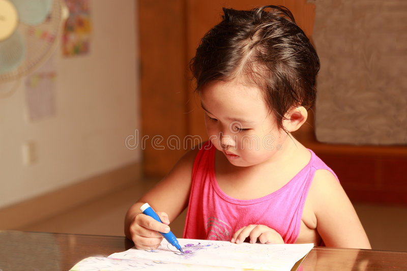 Download Little girl drawing stock image. Image of active, activity - 7039189