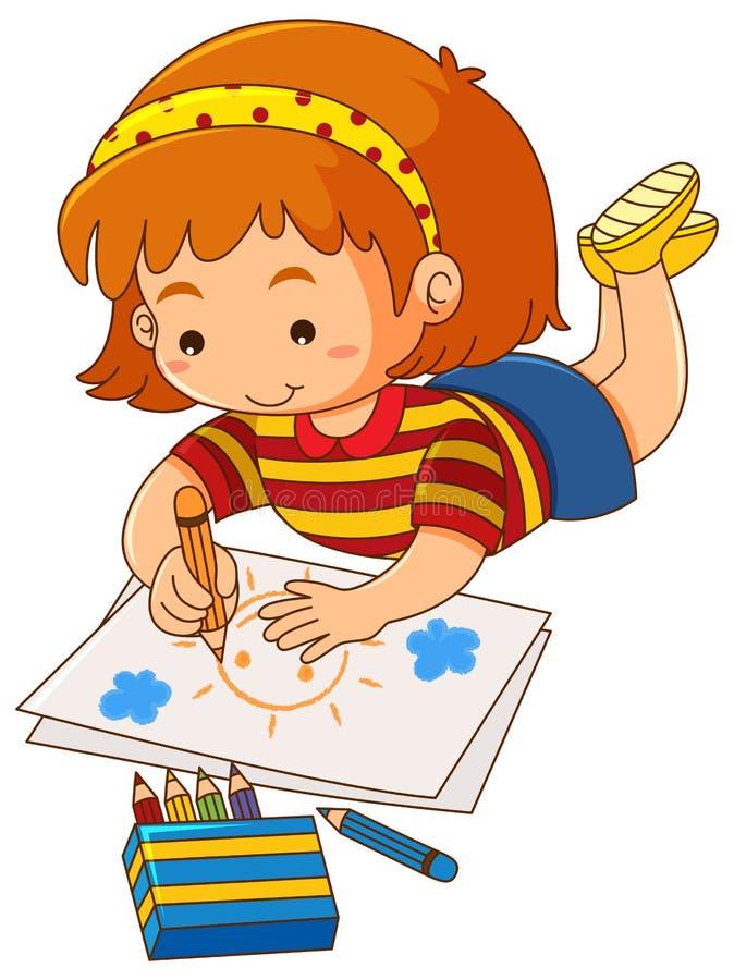 Little girl drawing sun on paper stock illustration