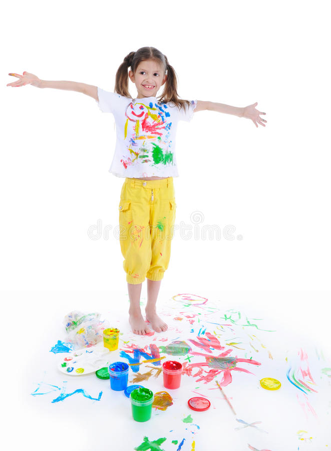 Download Little girl draws stock image. Image of color, multi - 18025203