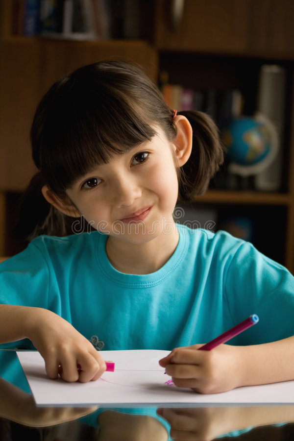 Download Little girl  draws. stock image. Image of happy, childhood - 8856863