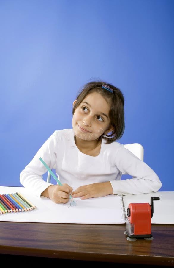 Little girl dreaming stock image