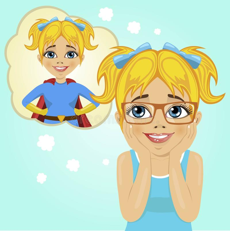 Little girl dreaming about becoming superhero. Cute little girl dreaming about becoming superhero vector illustration
