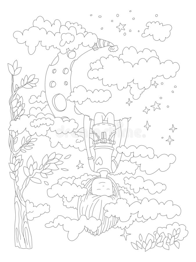 Little girl dreaming in her sleep, hanging on crescent moon, seing clouds, stars and space around. Vector outline. Illustration for zen coloring pages for vector illustration