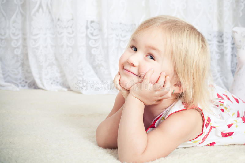 Little girl dreams stock images