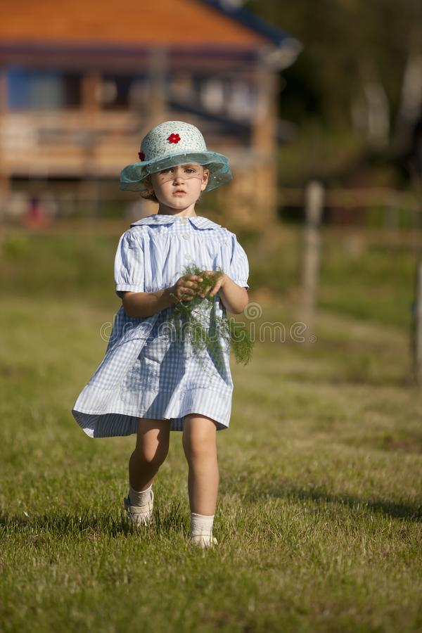 Little girl in a dress in the style of country music in the summer garden on the background of country house royalty free stock photography