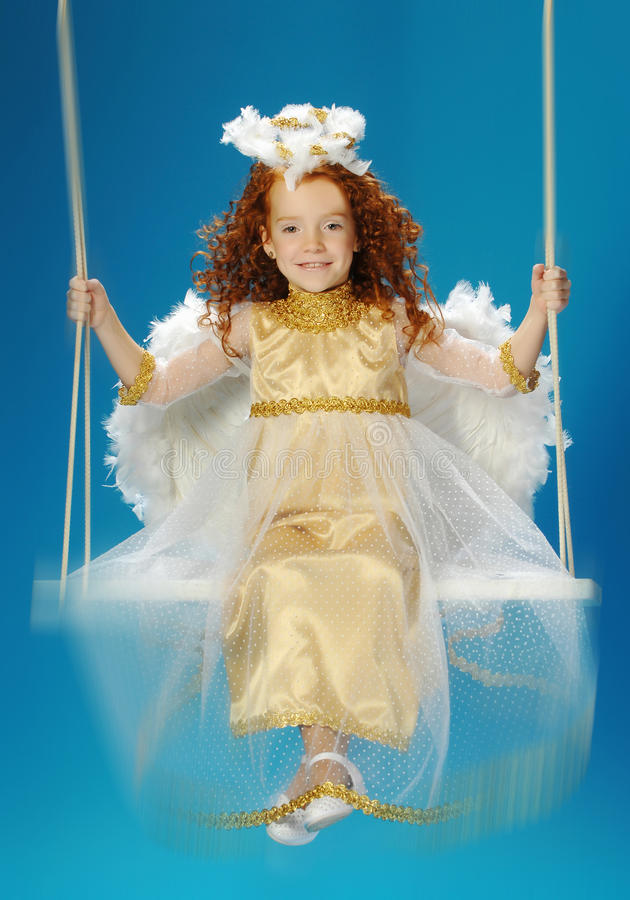 Download Little Girl Dressed As An Angel Stock Photo - Image of happy, childhood: 36450554