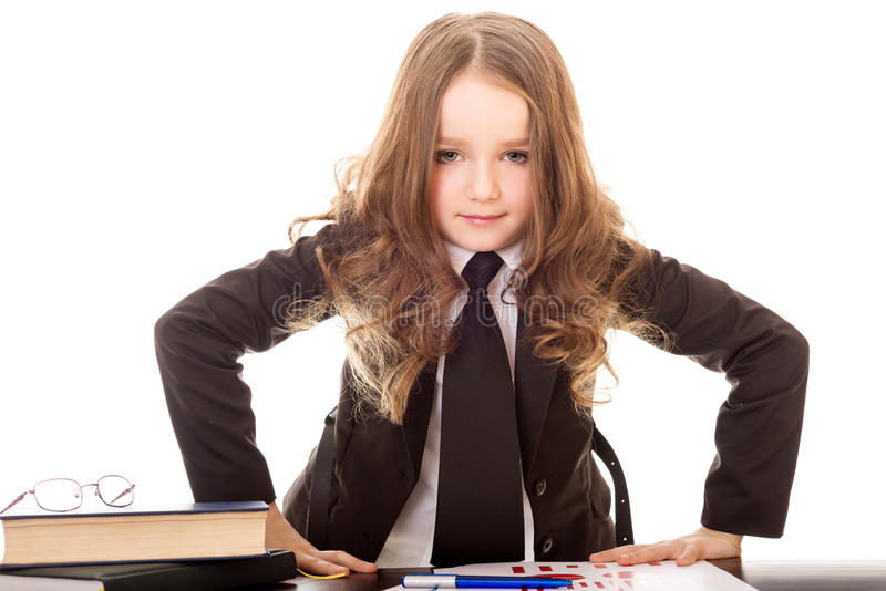 Little girl dressed as business woman stock image