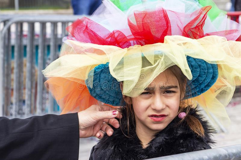A little girl dressed for the carnival, at Xanthi, Northeastern Greece stock photos