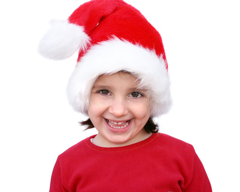 Little girl dressed like Santa stock image