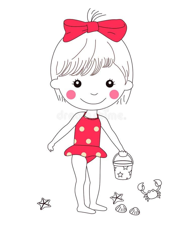 Little girl dressed swimsuit. stock illustration
