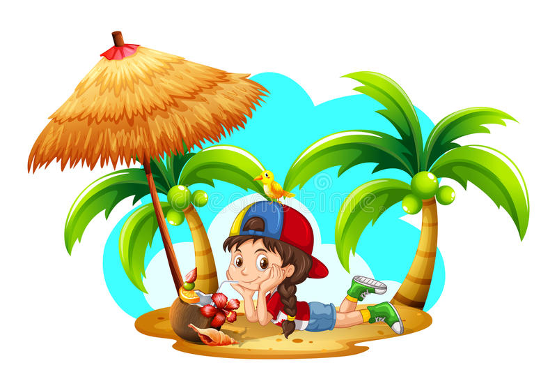 Little girl drinking coconut on the beach stock illustration