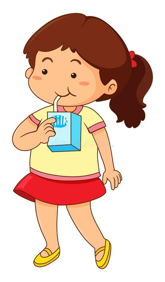 Little girl drinking milk royalty free illustration