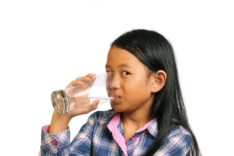 Little Girl Drinking Water stock photos