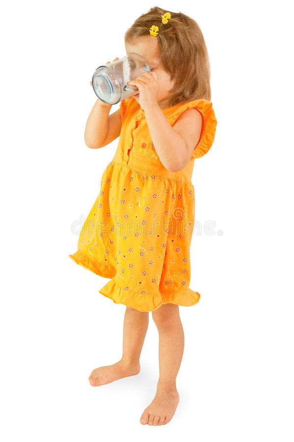 The Little Girl Drinks Milk Royalty Free Stock Images