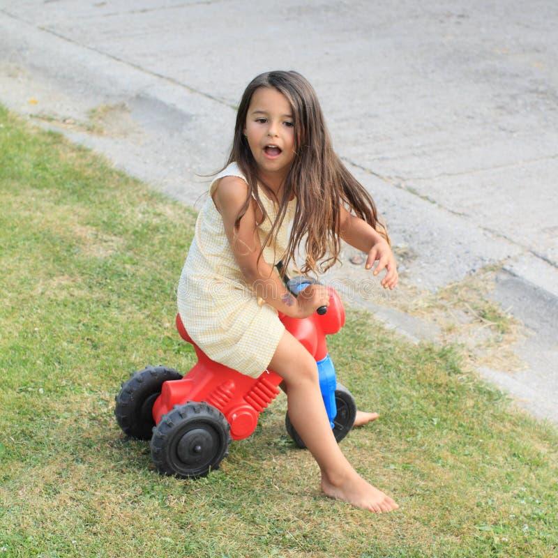 Little Girl Driving Small Kids Motorbike Stock Image Image of