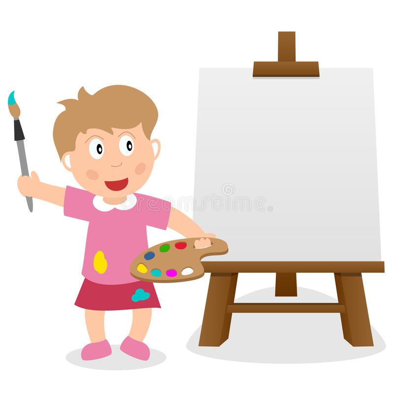 Little Girl with Easel Canvas & Paintbrush stock image